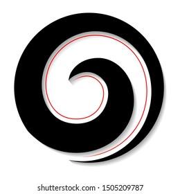 Maori Koru icon Black Red with Shadow New Zealand Kiwiana style