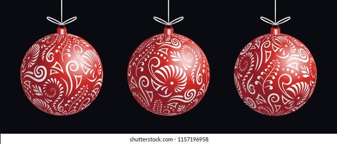 Maori koru red xmas bauble decoration ball for Christmas tree banner