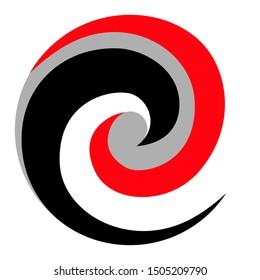 Maori Koru Spiral Logo black red grey New Zealand Kiwiana style