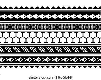Maori polynesian pattern border tattoo sleeve vector, samoan sketch forearm and foot design, maori stencil bracelet armband tattoo tribal, lace band fabric template seamless ornament