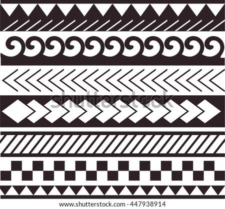 Maori Polynesian Style Bracelet Tattoo Black Image Vectorielle De