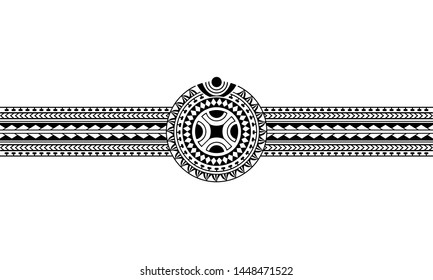 Maori polynesian tattoo border with swastika sun symbol. Tribal sleeve pattern vector. Samoan bracelet tattoo design fore arm or foot. Armband tattoo tribal.