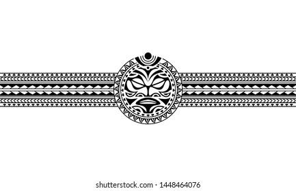 Maori polynesian tattoo border tribal sleeve pattern vector. Samoan bracelet tattoo design fore arm or foot. Armband tattoo tribal.