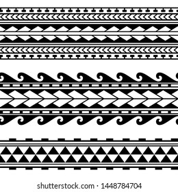 Maori polynesian tattoo border. Tribal sleeve seamless pattern vector. Samoan bracelet tattoo design fore arm or foot. Armband tattoo tribal. band fabric seamless ornament isolated on white background