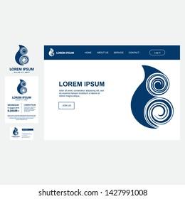 Maori sea symbol, vector business set templates