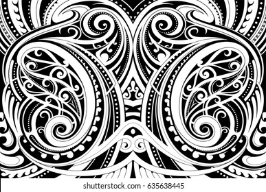 Maori style ethnic ornament. Good for decorative background