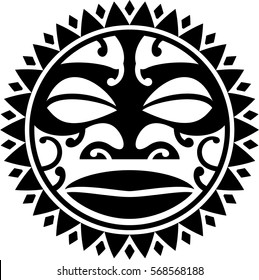 Maori style sun isol ated on  white. Use for tattoo