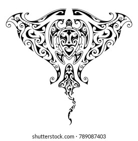 Maori style tattoo design for Manta ray shape with ethnic ornaments including shark and turtle inside the tattoo shape