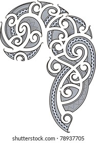 Maori style tattoo designed for a man's body (shoulder and chest)