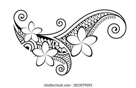 Maori style tattoo.  Ethnic decorative oriental ornament with frangipani flowers. Coloring book page.