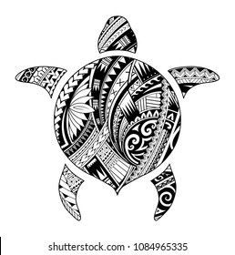 Maori style tattoo shaped as turtle