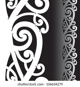 Maori styled tattoo pattern. Seamless vector illustration.