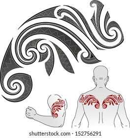 Maori styled tattoo pattern in a shape of chameleon. Good for a shoulder or an upper back. Editable vector illustration.