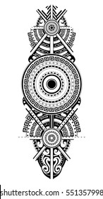 Maori tattoo design. Ethnic ornament can be used as body tattoo or ethnic themed backdrop.