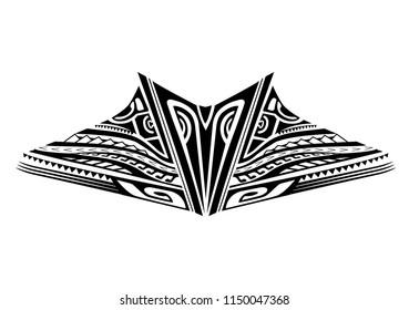 maori tattoo design for the neck and chest