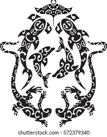 Maori tattoo design style isolated on white