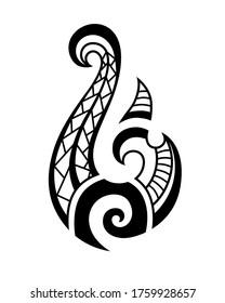 Maori tattoo style fish hook. Bone matau. Hei matau.