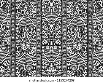 Maori tribal pattern vector seamless. African fabric print. Ethnic polynesian aboriginal art. Mexican black white background for boho textile blanket, wallpaper, wrapping paper and backdrop template.