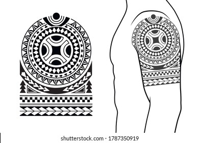 Maori tribal style tattoo pattern fit for a shoulder, arm. With example on body.