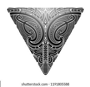 Maori tribal tattoo shaped as triangle