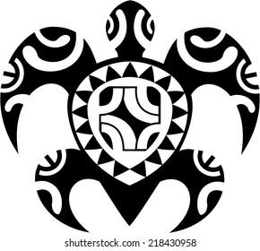 Maori turtle isolated on white