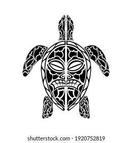 Maori turtle tattoo design. Isolated. Vector.