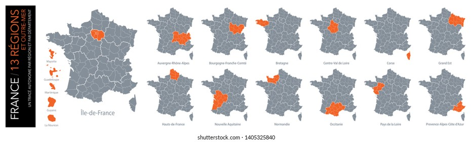 Map of 13 French regions and 5 overseas regions (included: limit of departments)