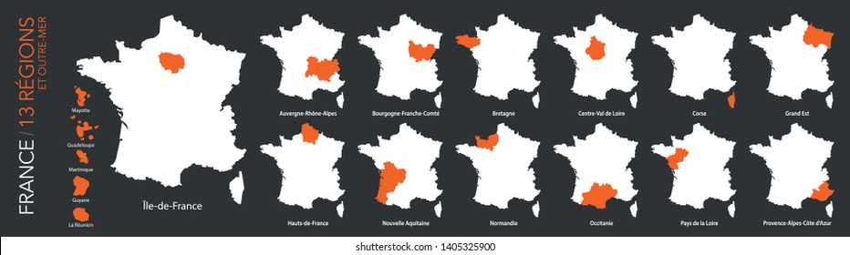 Map of 13 French regions and 5 overseas regions