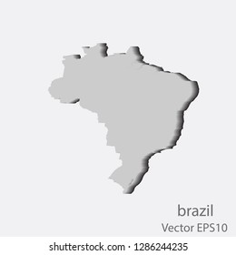 Map 3D of brazil abstract corlor Gold on White background frame vecter illustration eps 10