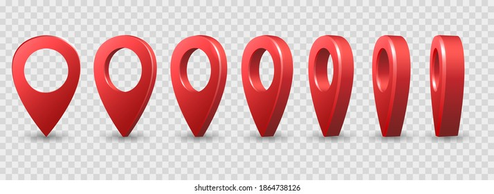 Map 3d pins. Location points vector shapes on white for maps and navigation apps, red geolocation markers, place mark icons, cartography and traveller interest symbols