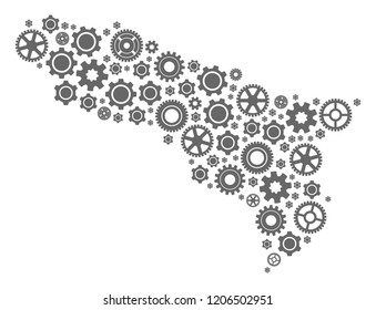 Map of Abkhazia created with gray engine symbols. Vector abstract mosaic of map of Abkhazia with industry symbols. Engineering flat design for technology projects.