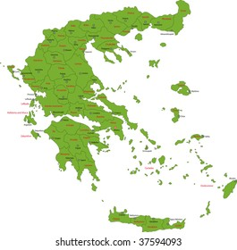 Map of administrative divisions of Greece with the capital cities