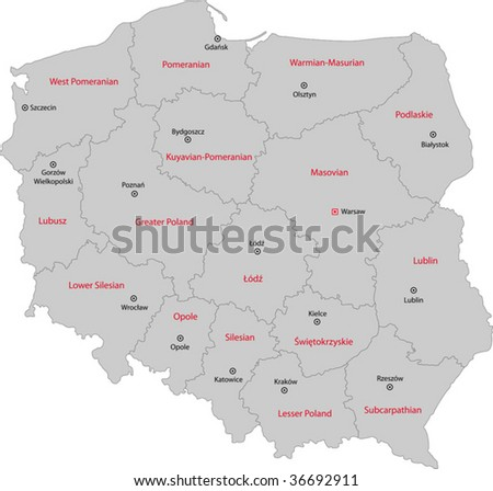 Capital Of Poland Map.Map Administrative Divisions Poland Capital Cities Stock Vector