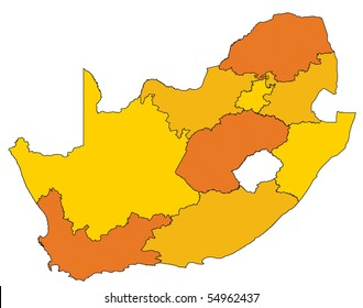 map of administrative divisions of republic of south africa in warm colors