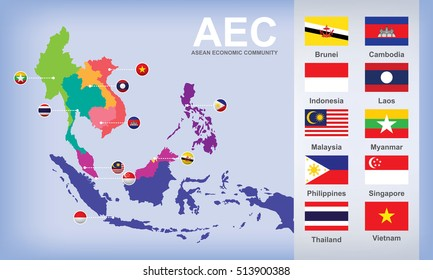 map of AEC Asean Economic Community with flags