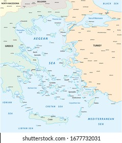 Map of the Aegean Sea, part of the Mediterranean between Greece and Turkey