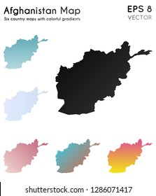 Map of Afghanistan with beautiful gradients. Actual set of Afghanistan maps. Classy vector illustration.
