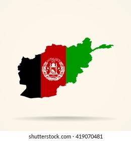 Map of Afghanistan in Afghanistan flag colors