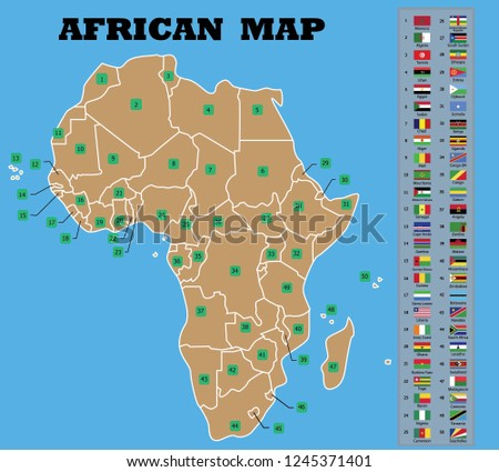 Map Africa African Countries Flags Names Stock Vector Royalty Free