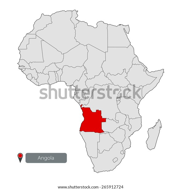 Map Africa Angola Stock Vector (Royalty Free) 265912724
