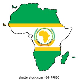 Map of Africa colored like the flag of the African Union.