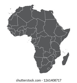 Map of Africa with country borders. Vector map on isolated background.