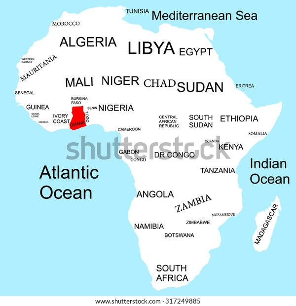 Map Of Africa With Ghana.Map Africa Ghana Stock Image Download Now