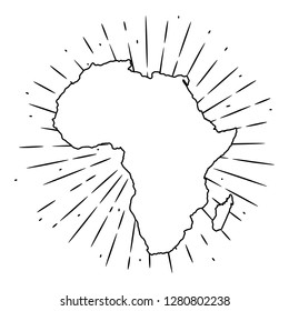 Map of Africa. Hand drawn vector illustration with a map of the Africa and divergent rays. Used for poster, banner, web, t-shirt print, bag print, badges, flyer, logo design and more.