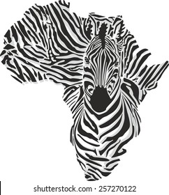 Map of Africa with the head of zebra