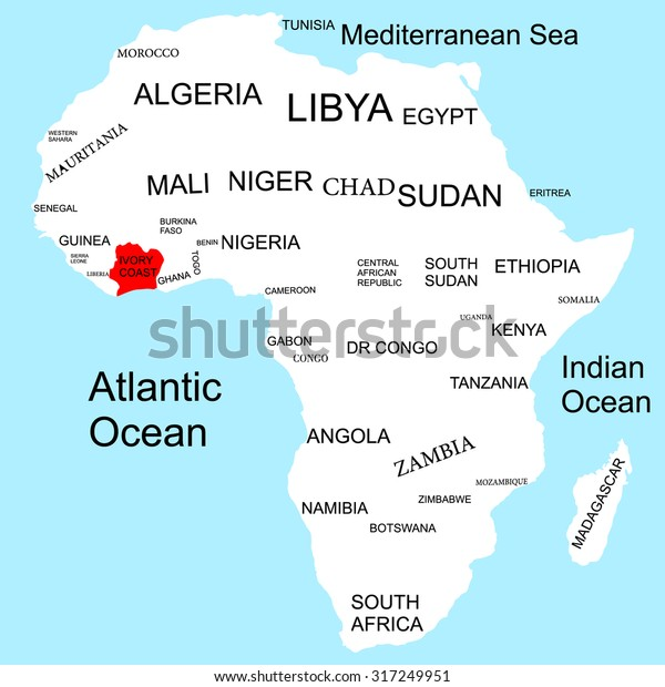 where is ivory coast on the map of africa Map Africa Ivory Coast Stock Vector Royalty Free 317249951 where is ivory coast on the map of africa