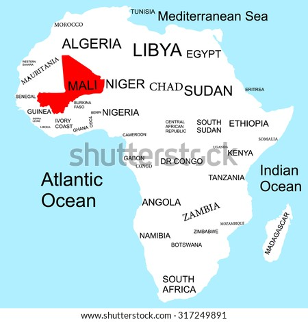 Map Africa Mali Stock Vector Royalty Free 317249891 Shutterstock