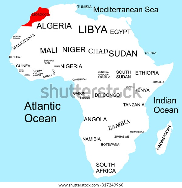 morocco on map of africa Map Africa Morocco Stock Vector Royalty Free 317249960 morocco on map of africa