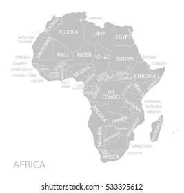 Map of Africa with name. Vector.