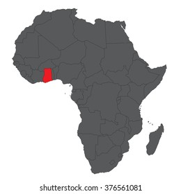 Map of Africa on gray with red Ghana vector